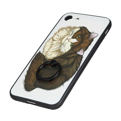 KaZiNe Azine Embossment Tpu + Pc Finger Ring Kickstand Cell Phone Case Coffee Cat  for iPhone 7/8 mercury goospery i jelly kickstand finger ring tpu shell for iphone 7 4 7 inch blue