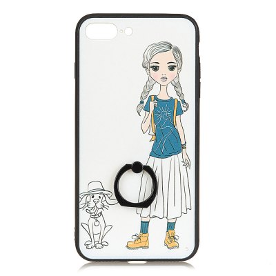 KaZiNe Azine Embossment Tpu + Pc Finger Ring Kickstand Cell Phone Case Girls and Puppies for iPhone 7 Plus/8Plus