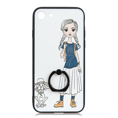 KaZiNe Azine Embossment Tpu + Pc Finger Ring Kickstand Cell Phone Case Girls and Puppies for iPhone 7/8