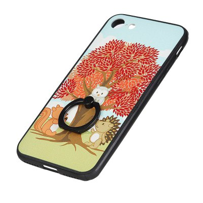 KaZiNe Azine Embossment Tpu + Pc Finger Ring Kickstand Cell Phone Case Trees and Three Animals for iPhone 7/8 mercury goospery i jelly kickstand finger ring tpu shell for iphone 7 4 7 inch blue