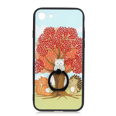 KaZiNe Azine Embossment Tpu + Pc Finger Ring Kickstand Cell Phone Case Trees and Three Animals for iPhone 7/8