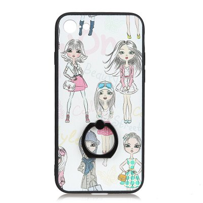 KaZiNe Azine Embossment Tpu + Pc Finger Ring Kickstand Cell Phone Case Five Girls Pattern for  iPhone 7 / 8