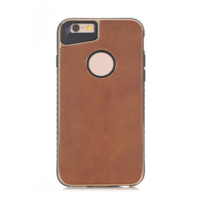Buy BROWN Dual Layer PC +TPU Eletroplating PC Retro Crazy Horse Leather Skin Shell Cover Case for iPhone 6 / 6S for $4.69 in GearBest store