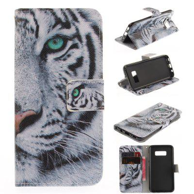Tiger PU+TPU Leather Wallet Case Design with Stand and Card Slots Magnetic Closure Case for Galaxy S8 Case