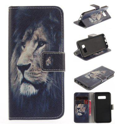 The Lion Model PU+TPU Leather Wallet Case Design with Stand and Card Slots Magnetic Closure Case for Galaxy S8 Case