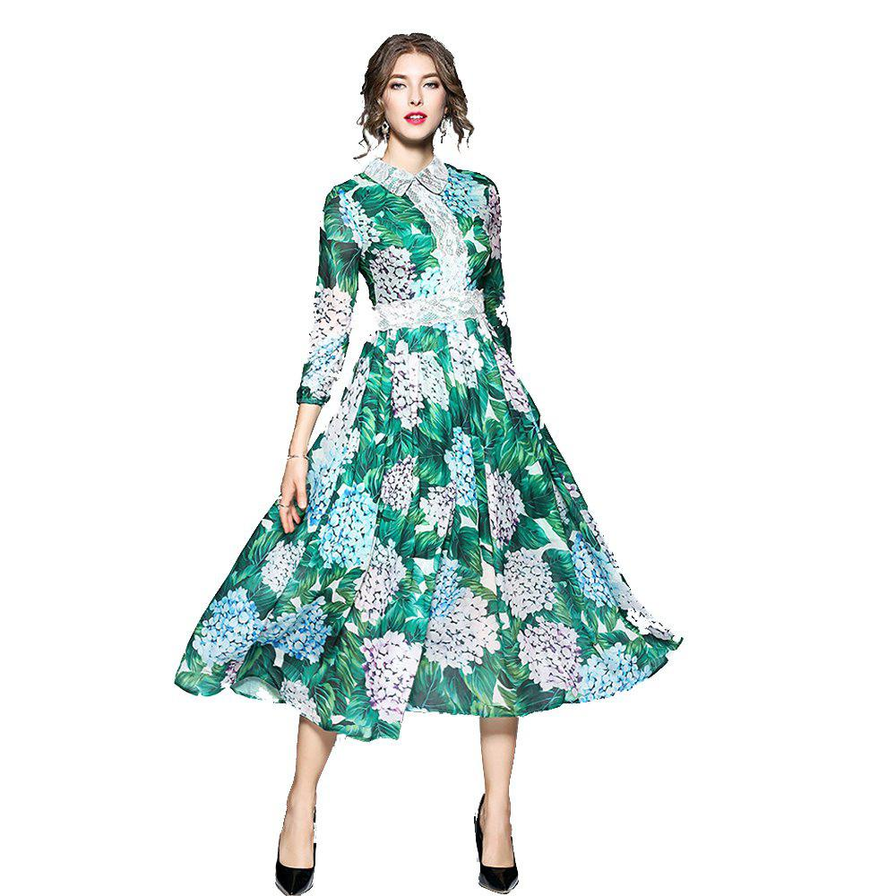 Autumn New High-End Printing Lapel Long Section Dress