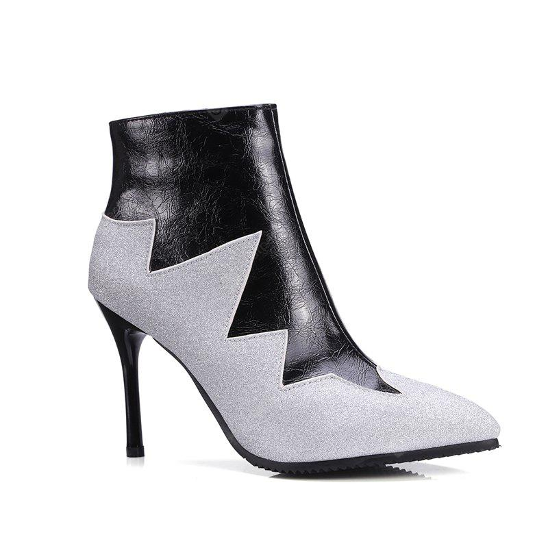Women's Bottine Pointed Toe Patchwork  Thin Heels Boots