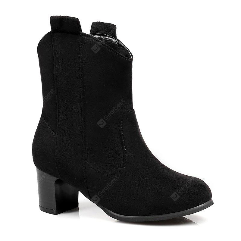 BLACK 36 The New Vintage Style of The Vintage with The Small Round Head Leisure Boots