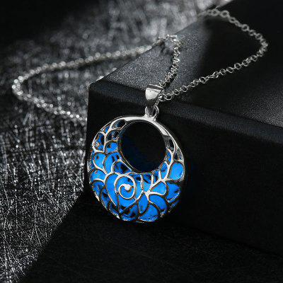 Fluorescent Fashion Hollow out Pendant Light Round Necklace-ALLOY