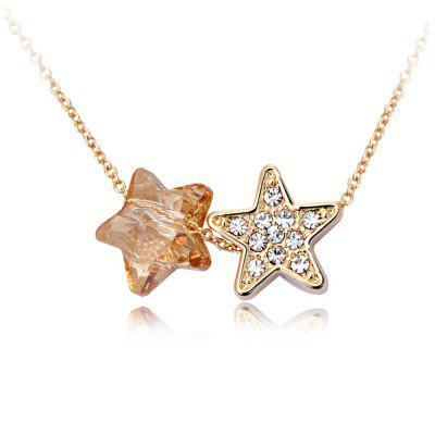 Buy SILVER + GREEN Rose-Gold-Plated Women's Fashion Necklace Five-Pointed Star Pendant Necklace for $24.28 in GearBest store