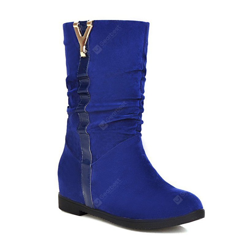 Women's Shoes Leatherette Winter Comfort Snow Boots Low Heel Round Toe Mid-Calf Boots