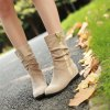 Women's Shoes Leatherette Winter Comfort Snow Boots Boots Low Heel Round Toe Mid-Calf Boots Ruffles For Casual Dress Red Beige - BEIGE