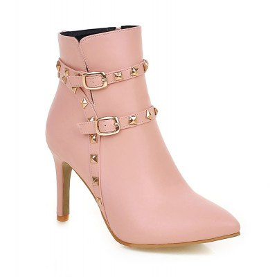 Women's Boots Leatherette Winter Casual Dress Fashion Boots Rivet Buckle Zipper Stiletto Heel