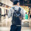 Portable Trendy Men PU Backpack - BLACK