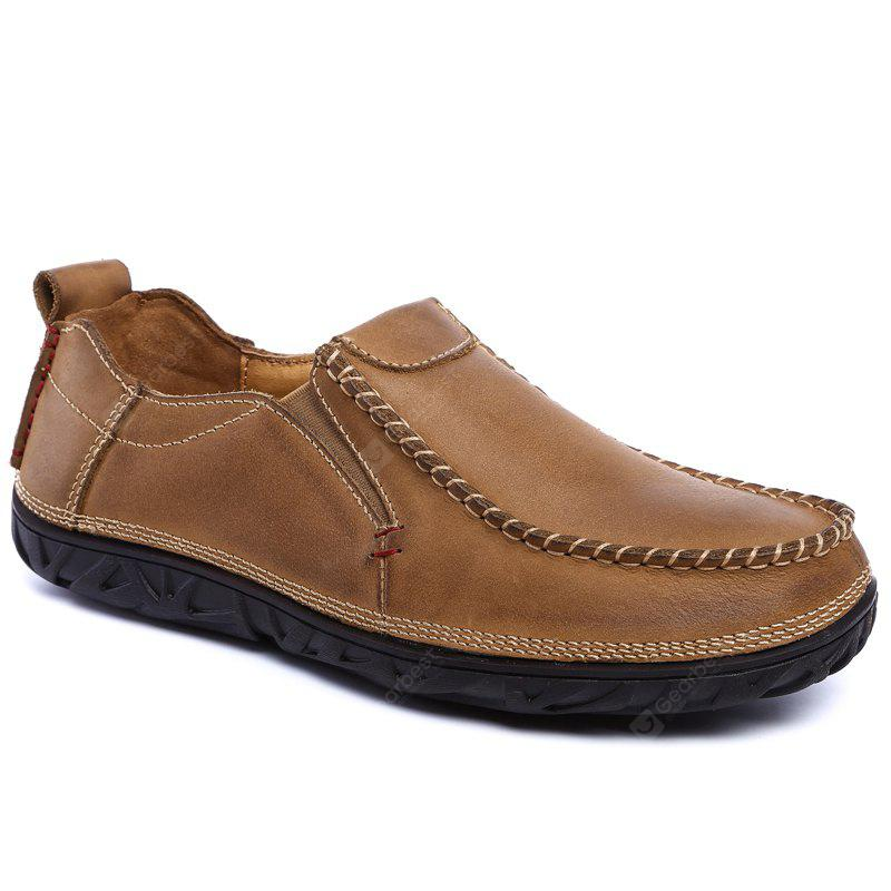 Shoes Men Leather Outdoor Shoes Casual Leather Shoes Thick Bottom Comfort Antiskid Shoe New Business Leather Shoes 43 BROWN