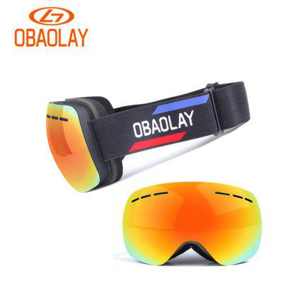 OBAOLAY H008 Unisex Frameless Panoramic Double Deck Anti Fog Ski Goggles