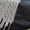 LmDec 17TL01 Decorative Table Cloth Lightning Sequins Stitching with Selvedge Edge - BLACK + SILVER