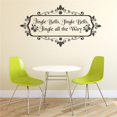 Jingle Bell English Christmas Decoration  Removable Wall Stickers