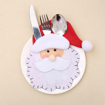 Santa Claus Pattern Knife and Fork Bag  for Table Decoration