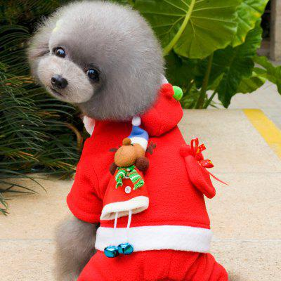 Lovoyager VC161015 Christmas Halloween Pet Costumes Coats Winter Warm Fleece Cosplay Dress Red Dog Hoodies Clothes for Women