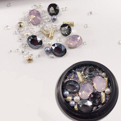 1 Box Metal Decorative Pink Big Jewel Pearl Accessories Mixed Style  Nail Art Decoration 80pcs