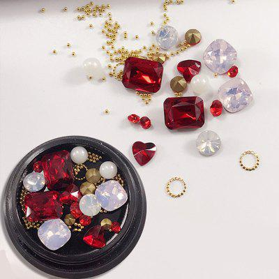 1 Box Metal Decorative Red Big Jewel Pearl Accessories Mixed Style  Nail Art Decoration 80PCS