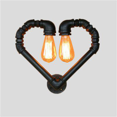 Brightness Vintage Water Pipe Loving Heart Wall Light