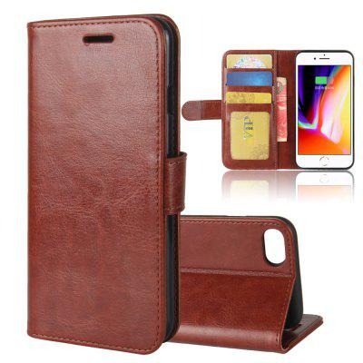 Durable Crazy Horse Pattern Back Buckle Flip PU Leather Wallet Case for iPhone 8