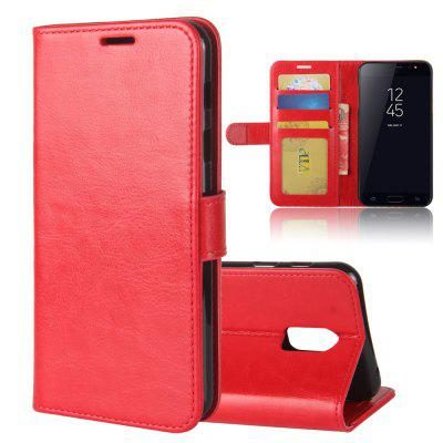 Durable Crazy Horse Pattern Back Buckle Flip PU Leather Wallet Case for Samsung Galaxy J7 Plus