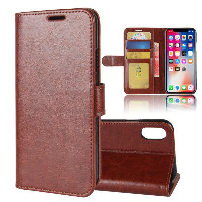 Durable Crazy Horse Pattern Back Buckle Flip PU Leather Wallet Case for iPhone X