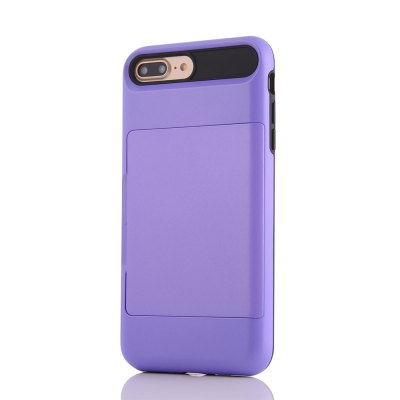 Impact Resistant Protective Shell Wallet Cover Shockproof Rubber Bumper Case Anti scratches Hard Cover Skin Card Slot Holder for iPhone 7 Plus brushed kickstand hard protection shell for iphone 7 plus dark blue