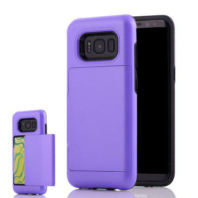 Impact Resistant Protective Shell Wallet Cover Shockproof Rubber Bumper Case Anti scratches Hard Cover Skin Card Slot Holder for Samsung Galaxy S8