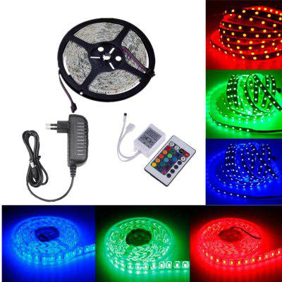 OMTO DC12V 5M / 16.4 FT SMD3528 Non-Waterproof LED Light Strip Power Supply RGB Color Changing Kit with 24 Key IR Contro