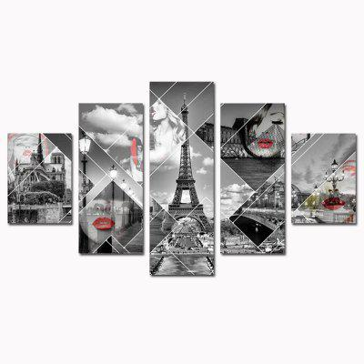 HX - ART No Frames Painted Canvas Five-set Painting Street Towe