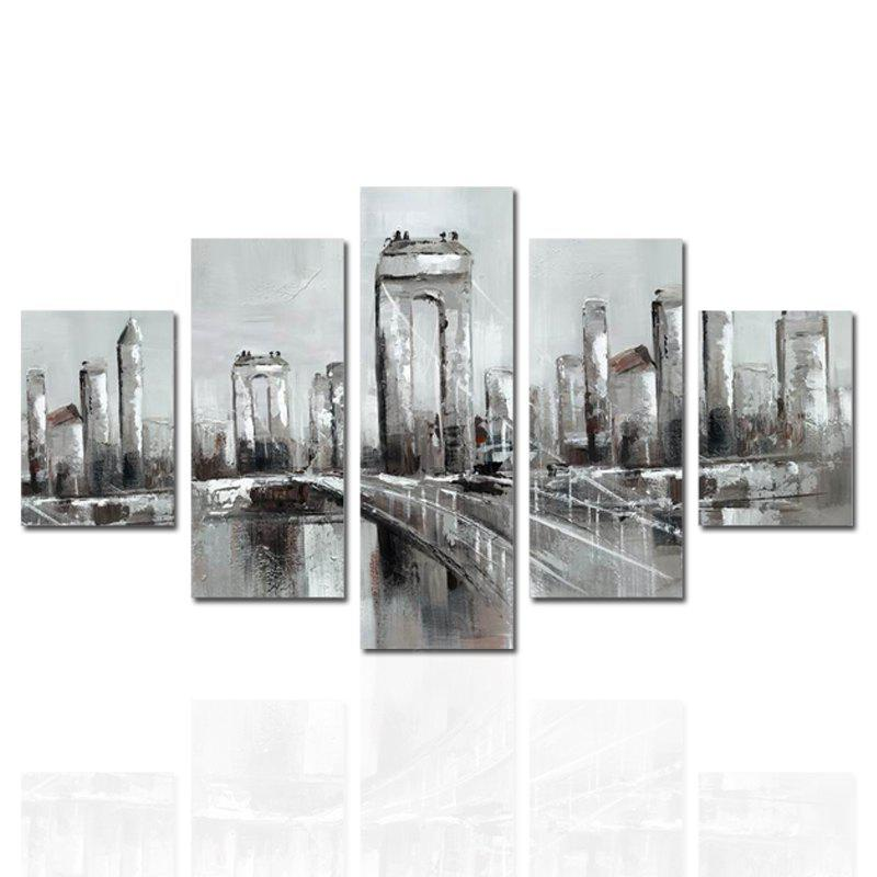 COLORMIX HX ART Frameless Canvas Five-set Painting Street Bridge