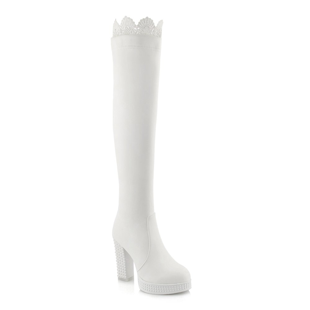Women's above Knee Boots PU Material Non Slip Rubber Sole Thick Heels Trendy Shoes