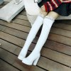 Women's above Knee Boots PU Material Non Slip Rubber Sole Thick Heels Trendy Shoes - WHITE