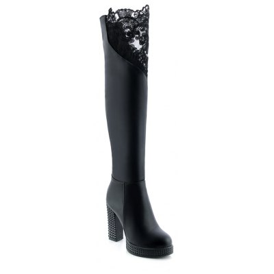 Women's above Knee Boots Sexy Laced Design Faddish Warm Heel Boots