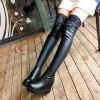 Women's above Knee Boots Casual All Matched Shoes - BLACK