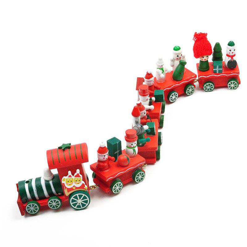 WS Hot New Lovely Charming Little Train Wood Christmas Train Ornament Decoration Decor Gift
