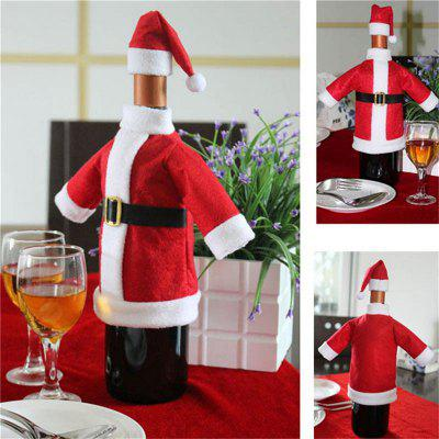 WS 2pcs/set lovely set of red wine bottle covers Christmas dinner table decorations clothes and hats home decorations  Christmas decorations