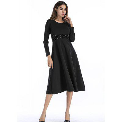 Round Neck Solid Color Long Sleeve Dress