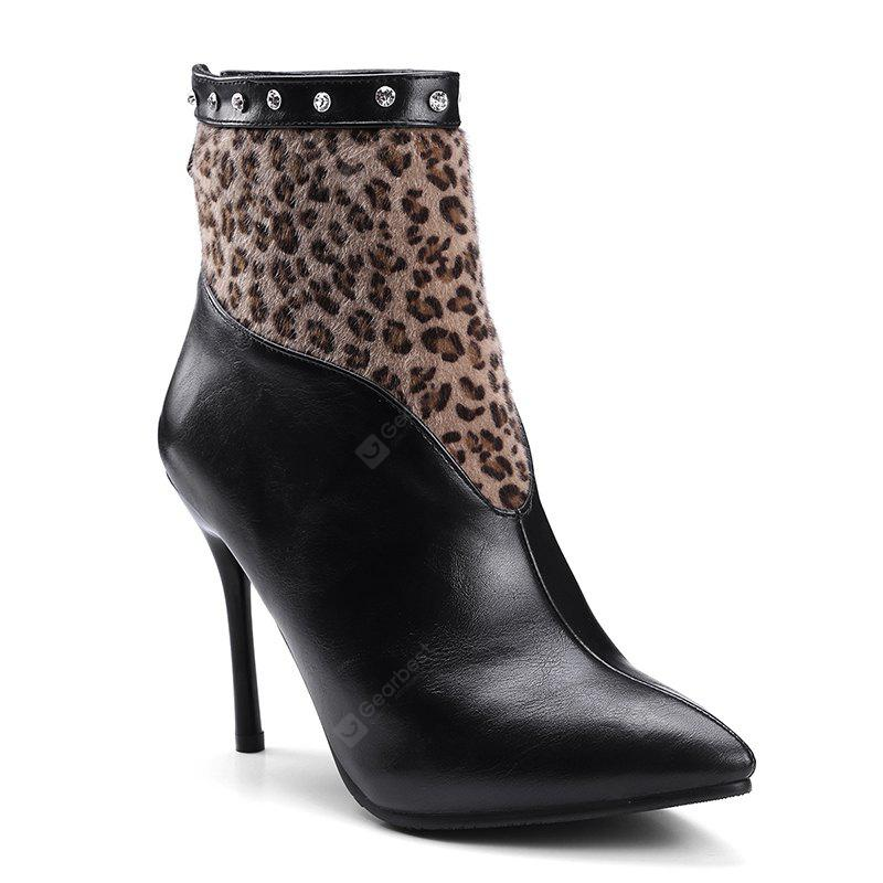 New Martin Boots  in Europe and America, with A High Heel and A Leopard Print