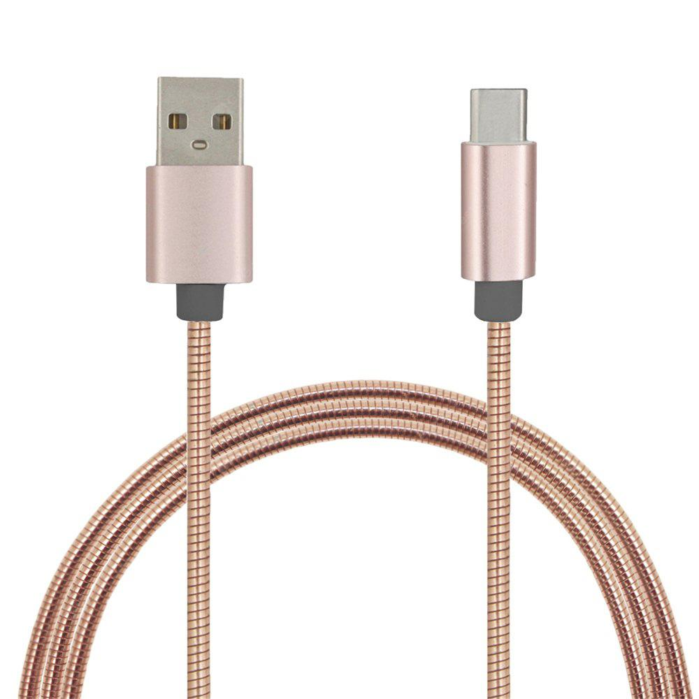 Mini Smile Quick Charge Stainless Steel Spring Type-C Usb 3.1 Usb Charging Cable High-Speed Data Transmission ROSE GOLD