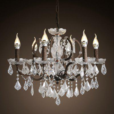 E14 Bulb Base Large Nordic Vintage Rust Metal and Crystal Chandelier Light Fixture 220 - 240V