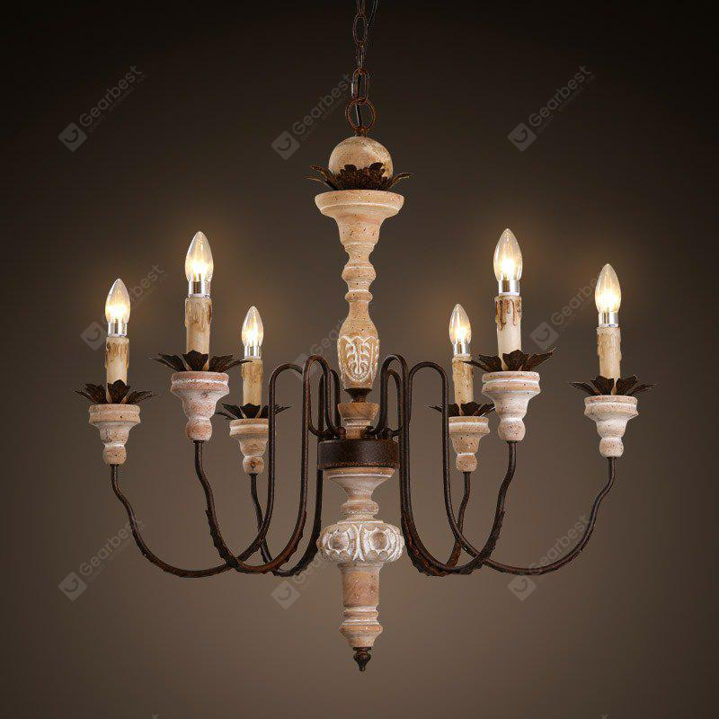 6 E14 Bulb Base Nordic Vintage Rust Metal and Antique Wooden Chandelier  Light 220 - 240V - 6 E14 Bulb Base Nordic Vintage Rust Metal And Antique Wooden