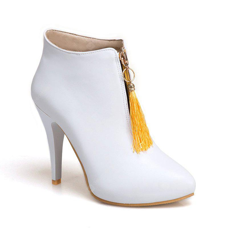 Women's Shoes Leatherette Winter Stiletto Heel Pointed Toe Booties Zipper Tassel Casual Dress