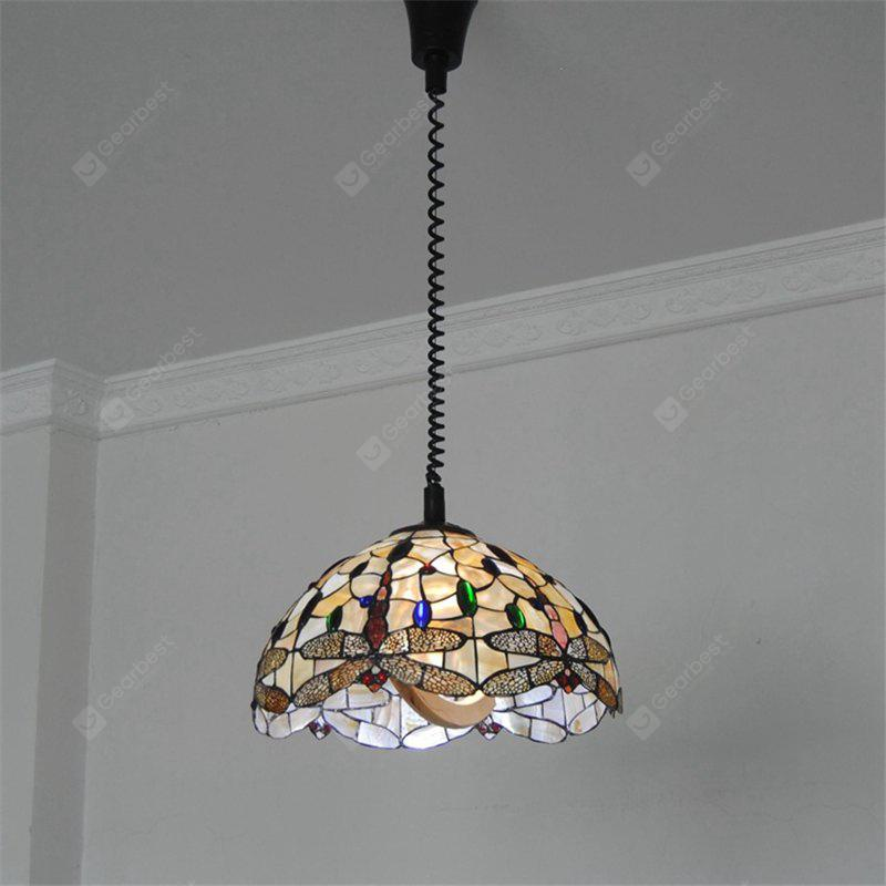 COLORMIX Modern Art Crafts Nordic Shell Patch Lamp Shade Lustre Hanging Pendant Light Fixtures Handicrafts Chandelier Christmas Decor for Home Restaurant Kitchen Coffee Bar Luminaire BKDD-02