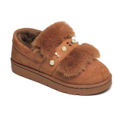 YQ-W701 Plush Female Cashmere Thermal Thick Soled Shoes At Home with A Lazy Boots