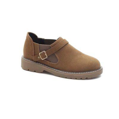 Buy BROWN 39 W-Y6 Round Buckle Buckle Fashion Women'S Sole Shoes for $28.36 in GearBest store